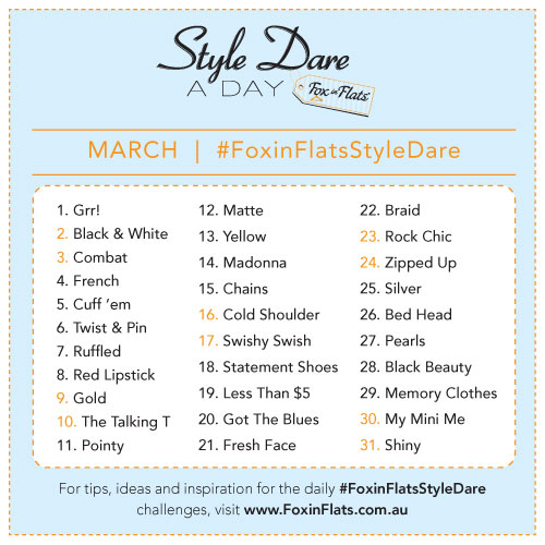 Fox in Flats Style Dare March Prompt list