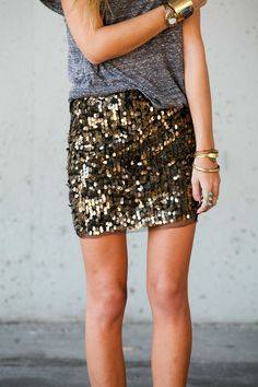 grey t and sequins
