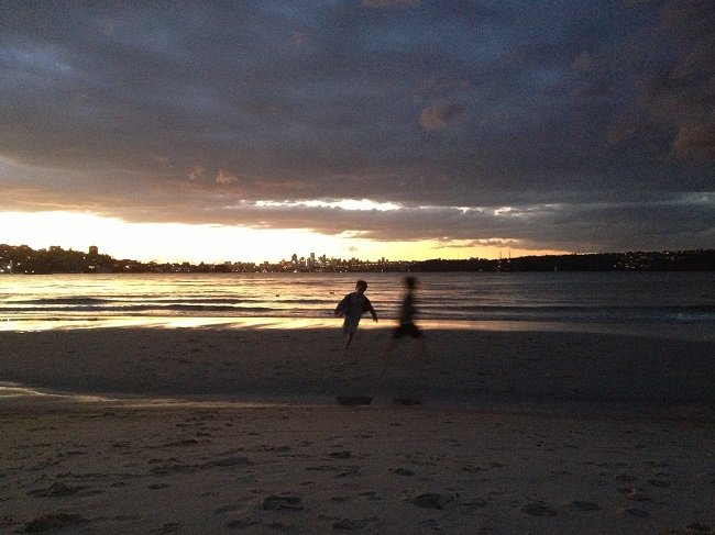 Visiting the beach at sunset with children is always fun